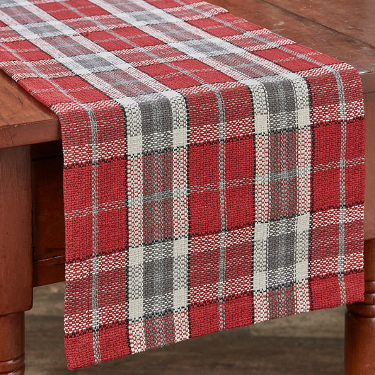 traditional red plaid table runner for the holidays