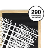 Square 10x10 in Black Letterboard with 290 White Letters, Numbers and Punctuation