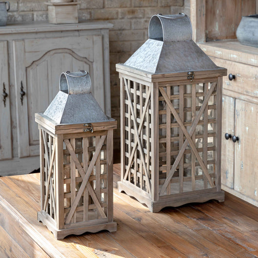Tobacco Barn Lanterns, Set of 2