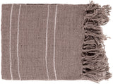 Traveler Open Weave Fringe Throw Blanket - Taupe