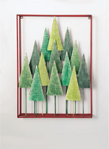 Seasonal red and green tree wall decor