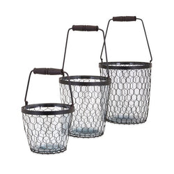 Trisha Yearwood Honeybee Glass Buckets - Set of 3