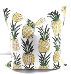 Tropical Pineapple Yellow Print Pillow Cover Farmhouse Decor