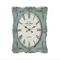 Vintage Blue Shabby Rectangular Clock