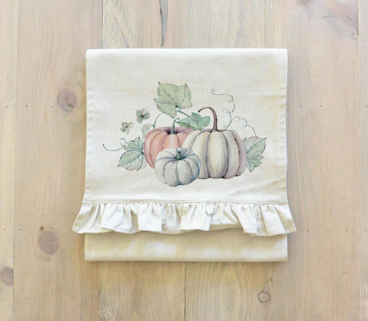 Watercolor Multi-Color Pumpkins Table Runner