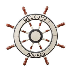 Welcome Aboard Nautical Ship Steering Wheel Wall Decoration