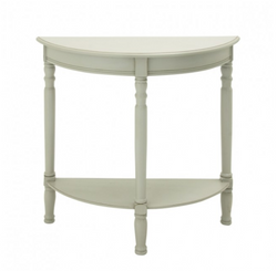 White Half Moon Console Table