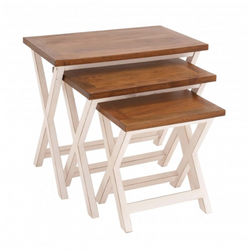 White and Brown Farmhouse Nesting Table Set