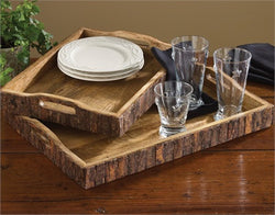 Wood with Bark Edge Trays - Set of 2