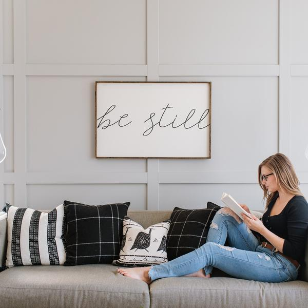 Be Still Sign wood Farmhouse wall sign