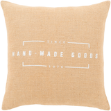 "Classic Farmhouse Circa ""Hand Made Goods"" Throw Pillow - Jute"