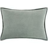 Cozy Farmhouse Cotton Velvet Throw Pillow - Sea Foam