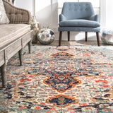 Distressed Persian Sarita Rug, Farmhouse decor, Traditional, vintage, floor coverings, grey