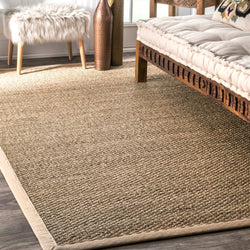 Elijah Seagrass with Border Rug Farmhouse Decor beige