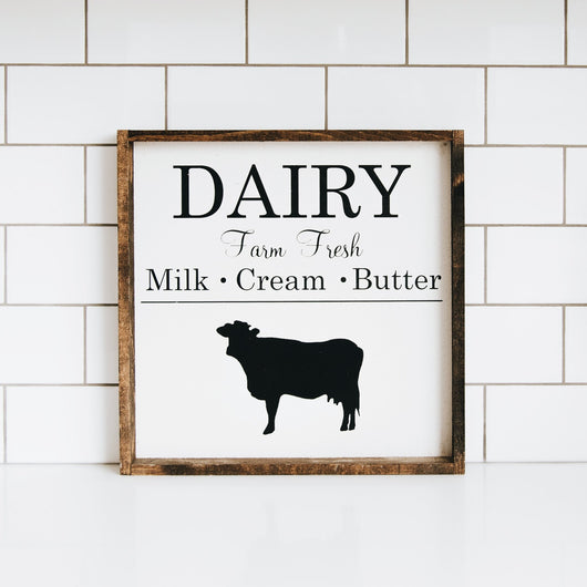 Farm Fresh Dairy Sign wood Farmhouse hanging wall decor