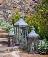 Wood & Galvanized Metal Lanterns, Set of 3