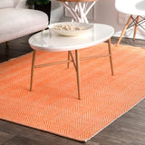 Hand Loomed Kimberely Rug Farmhouse Decor, Contemporary Casuals, Floor Coverings, Orange