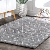 Hand Tufted Beaulah Shaggy Rug, Farmhouse decor, grey, floor covering, contemporary, geometric