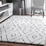 Hand Tufted Beaulah Shaggy Rug Farmhouse decor, white, floor covering