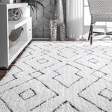 Hand Tufted Beaulah Shaggy Rug Farmhouse decor, white, floor covering, contemporary, geometric