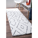 Hand Tufted Beaulah Shaggy Rug, Runner, Farmhouse decor, white, floor covering, contemporary, geometric