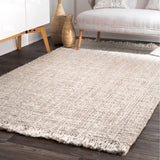 Hand Woven Chunky Loop Jute Rug, Farmhouse decor, natural fibers, off white, area rug, floor covering