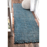 Hand Woven Chunky Loop Jute Rug, Runner, Farmhouse decor, natural fibers, blue, floor covering