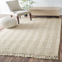 Hand Woven Don Jute with Fringe Rug, Farmhouse Decor, natural fibers, floor coverings, area rug