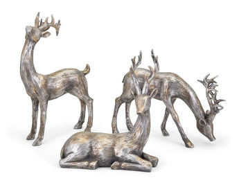 Oversized Gold and Silver Christmas Reindeer - Set of 3