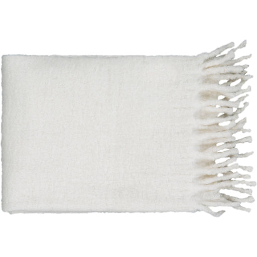 Lanose Classy Fringed Throw Blanket - Cream