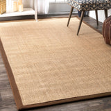 Machine Woven Orsay Sisal Rug, Farmhouse Decor, floor coverings, natural fibers, casual, area rug, brown border