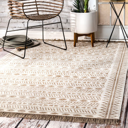 Outdoor Tribal Angie Rug, Farmhouse decor, beige, fringed, area rug, floor covering