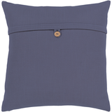 Penelope Button Modern Woven Linen Farmhouse Throw Pillow - Navy