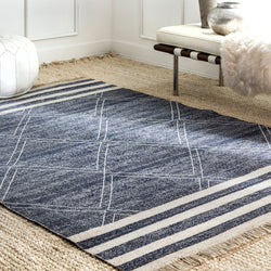 Roberge Coastal Indoor/Outdoor Rug, Farmhouse Decor, area rug, floor coverings, blue, fringed edge