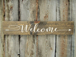 rustic Welcome Arrow Sign - Cursive