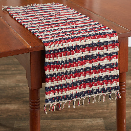 stars and stripes chindi table runner fourth of july