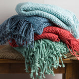 Tibey Soft and Light Farmhouse Open Weave Throw Blanket - Pale Blue