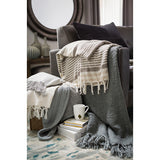 Tucker Knitted Fleece-Lined Farmhouse Throw Blanket - Gray