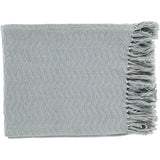 Thelma Fringe Farmhouse Throw Blanket - Ice Blue