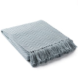 Thelma Classy and Comfy Fringe Throw Blanket - Ice Blue