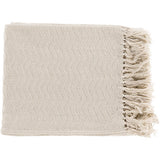Thelma Fringe Farmhouse Throw Blanket - Cream