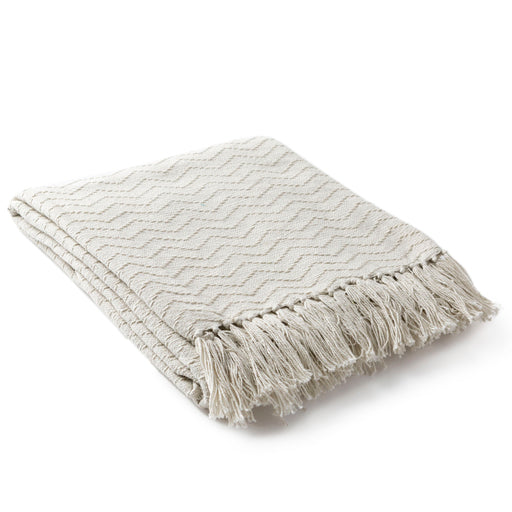 Thelma Fringe Cozy Farmhouse Throw Blanket - Cream