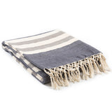 Timothy Striped Farmhouse Knit Throw Blanket - Charcoal