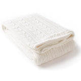 Bright Tucker Knitted Fleece-Lined Throw Blanket - White