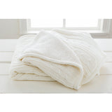 Tucker Knitted Fleece-Lined Farmhouse Throw Blanket - White