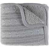 Warm Farmhouse Tucker Knitted Fleece-Lined Throw Blanket - Gray