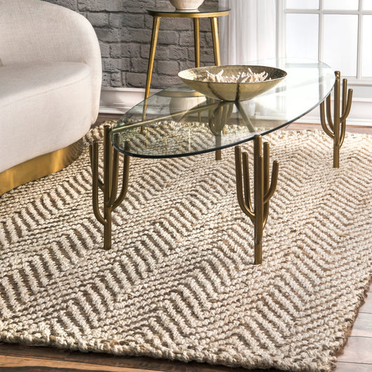 Vania Chevron Jute Rug Ivory Farmhouse Decor
