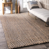 Vania Chevron Jute Rug Navy Farmhouse Decor Hand woven floor covering