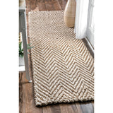Vania Chevron Jute Rug Ivory Farmhouse Decor hand woven natural floor covering