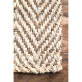 Vania Chevron Jute Rug Ivory Farmhouse Decor hand woven natural fibers